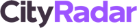Cityradar logo white grey purple rgb